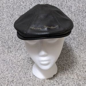 🆕 Vintage HARLEY-DAVIDSON Leather Black Cap S-M